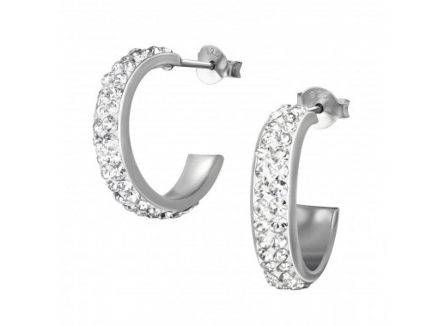 Silver ear studs crystal rhodium plated