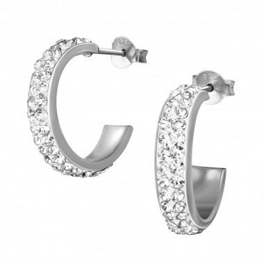 Zilveren oorstekers kristal rhodium plated-1