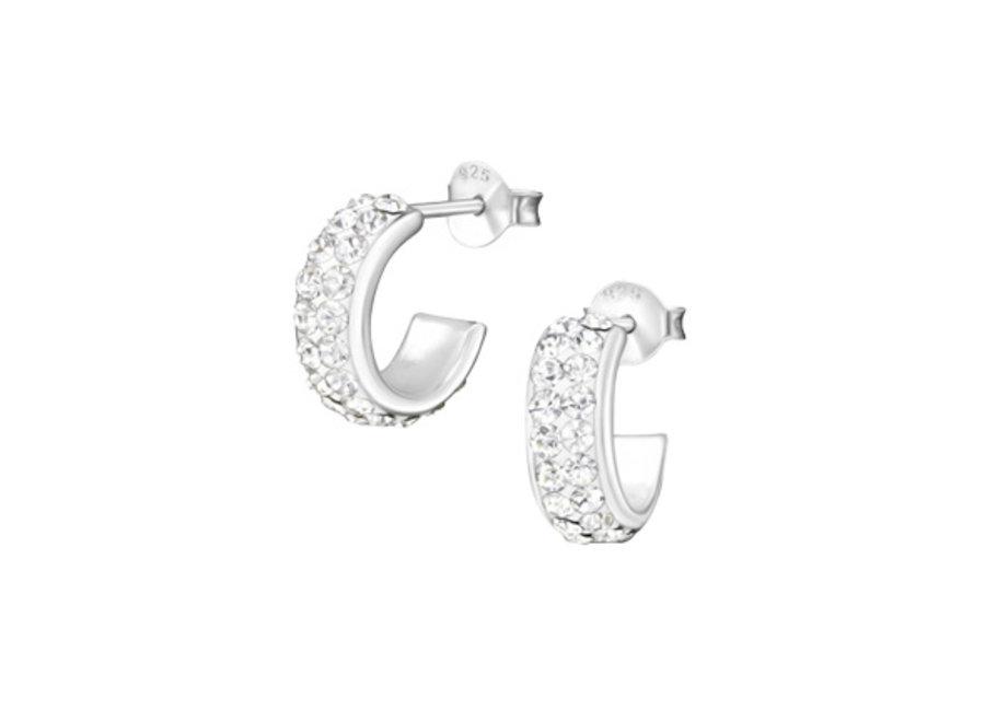 Silver ear studs crystal