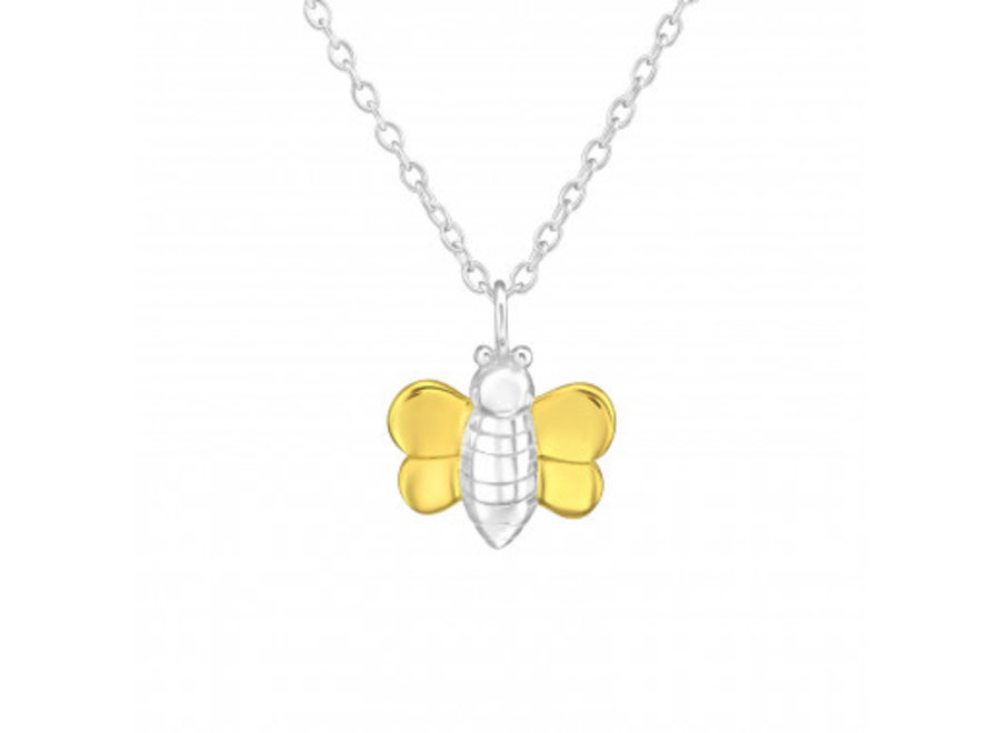 Silver necklace bee