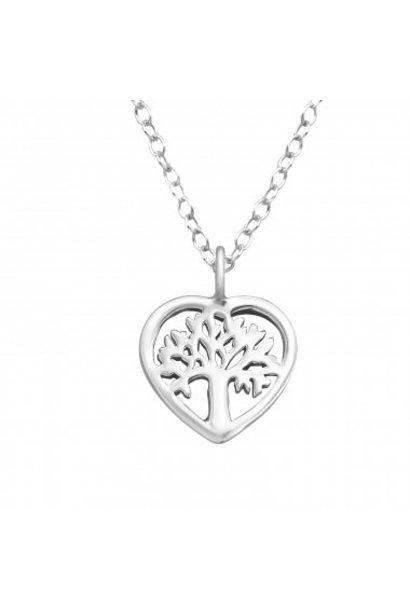 Zilveren ketting levensboom