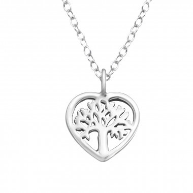 Silver necklace tree of life-1