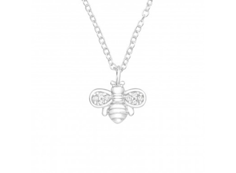 Silver necklace with zirconia stones