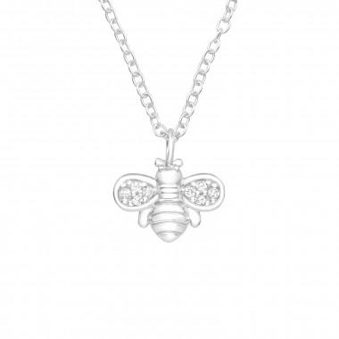 Zilveren ketting bij met zirkonia-steentjes-1
