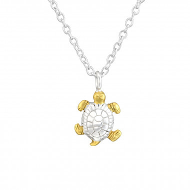 Silver turtle necklace-1