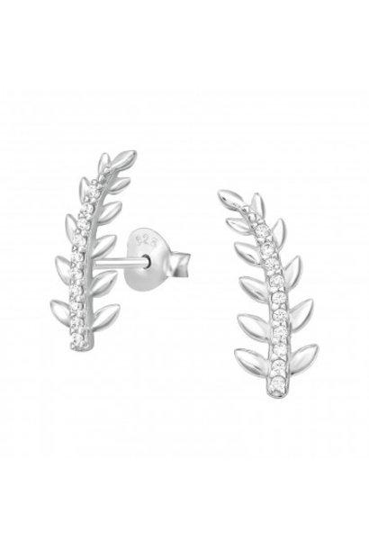 Cuff ear studs leaf with zirconia stones
