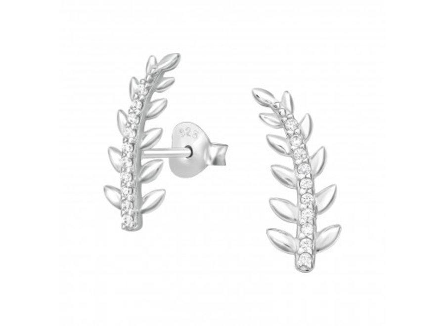 Manchet oorstekers blad met zirkonia-steentjes