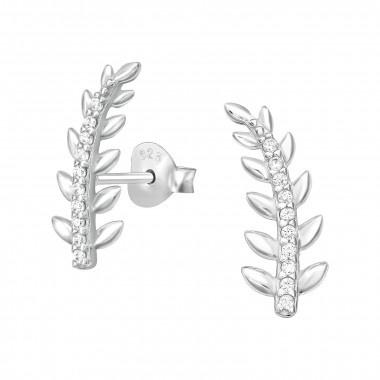 Cuff ear studs leaf with zirconia stones-1