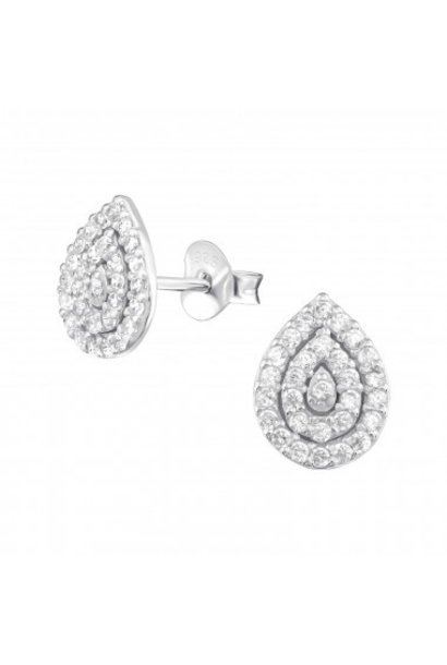 Silver ear studs pear with zirconia stones