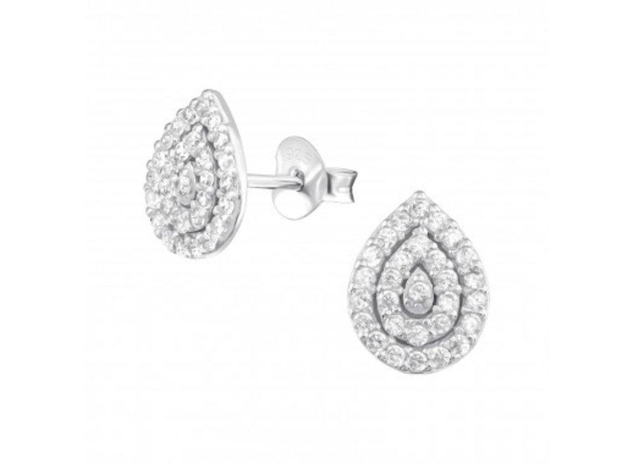 Zilveren oorstekers peer met zirkonia-steentjes