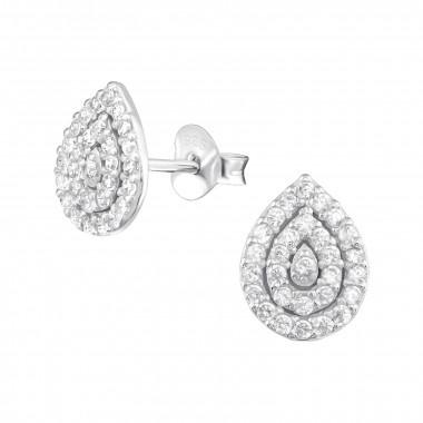 Zilveren oorstekers peer met zirkonia-steentjes-1
