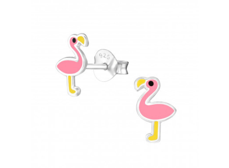 Silver earrings flamingo