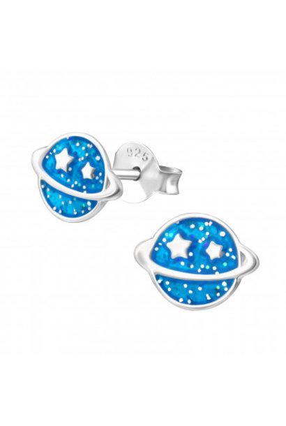 Silver planet earrings
