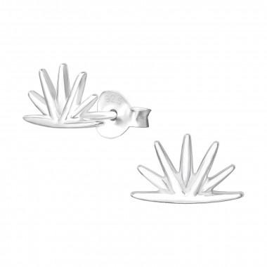 Silver earrings half sun-1