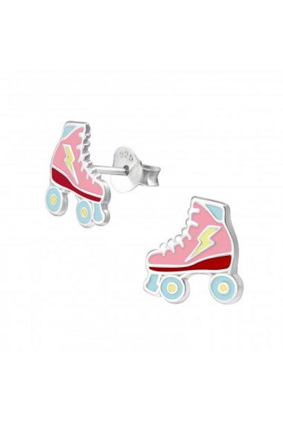 Zilveren oorstekers rolschaats