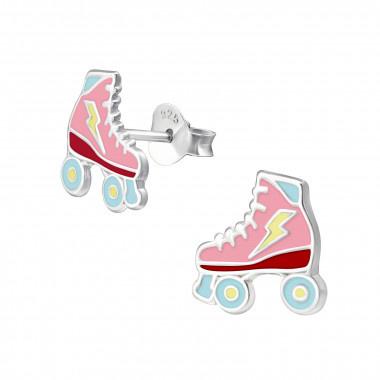 Zilveren oorstekers rolschaats-1