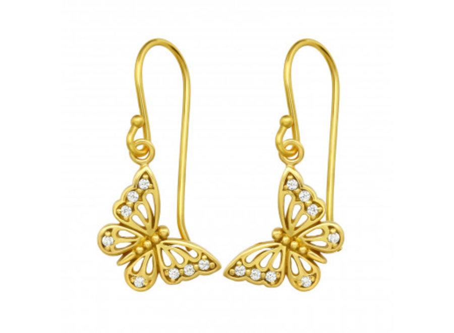Butterfly earrings with zirconia stones