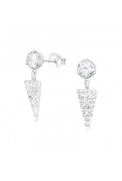 Silver ear studs with crystal stones