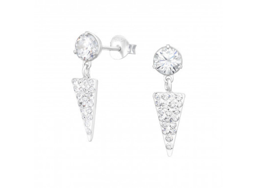 Zilveren oorstekers met kristal-steentjes