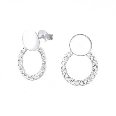 Zilveren oorstekers met kristal-steentjes-1