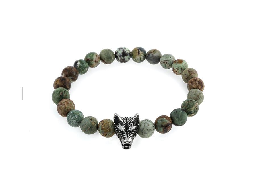 Gemstone bracelet African green opal matt