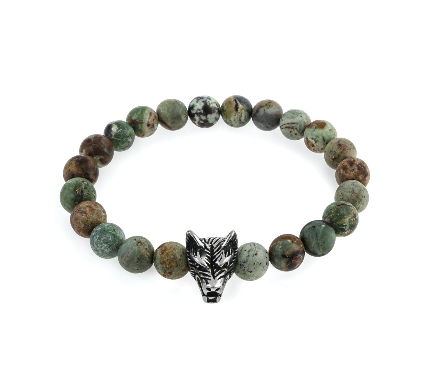 Gemstone bracelet African green opal matt-1