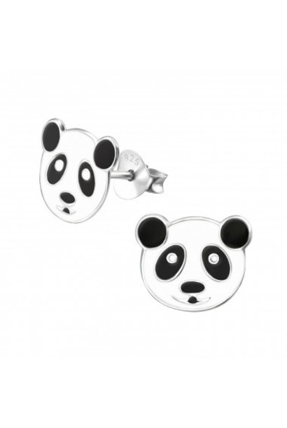 Silver earrings panda bear