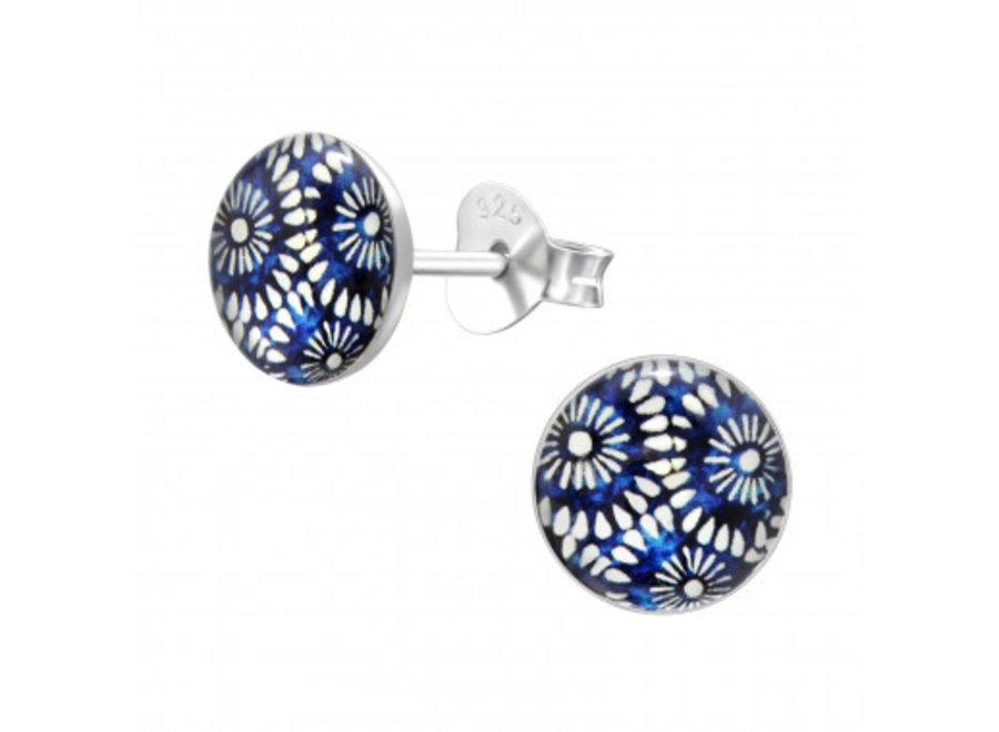 Silver earrings fireworks