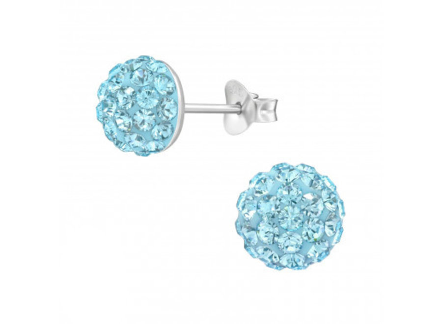 Silver ear studs crystals