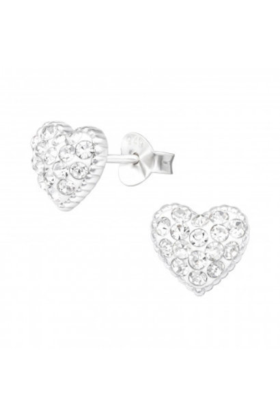 Silver ear studs heart with crystal stones