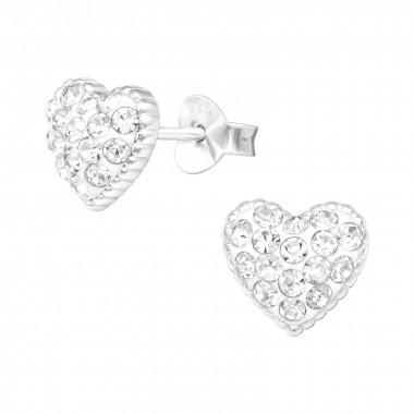 Zilveren oorstekers hart met kristal-steentjes-1