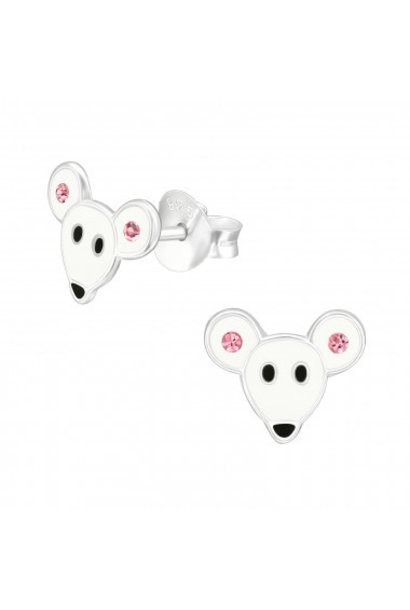 Silver mouse stud earrings with crystal stones
