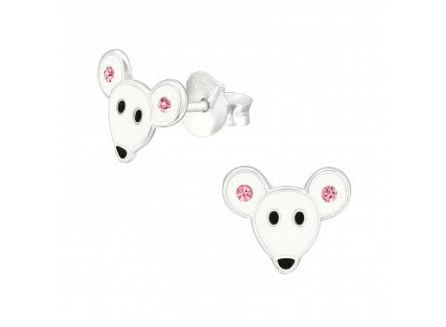 Zilveren oorstekers muis met kristal-steentjes