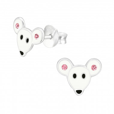 Silver mouse stud earrings with crystal stones-1