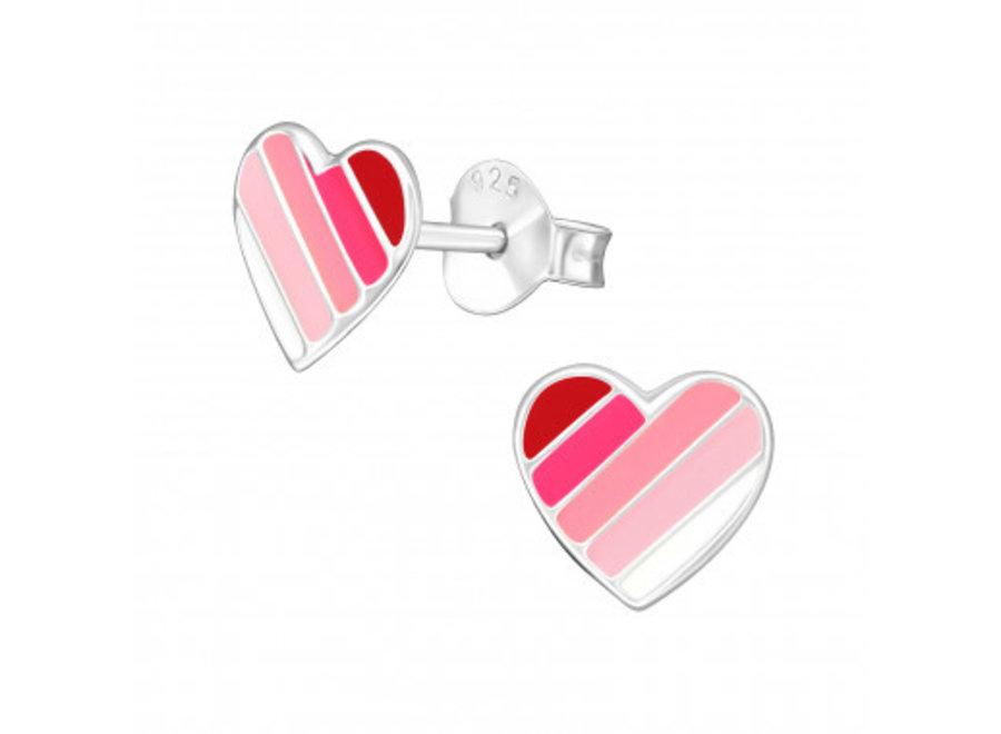 Silver ear studs heart