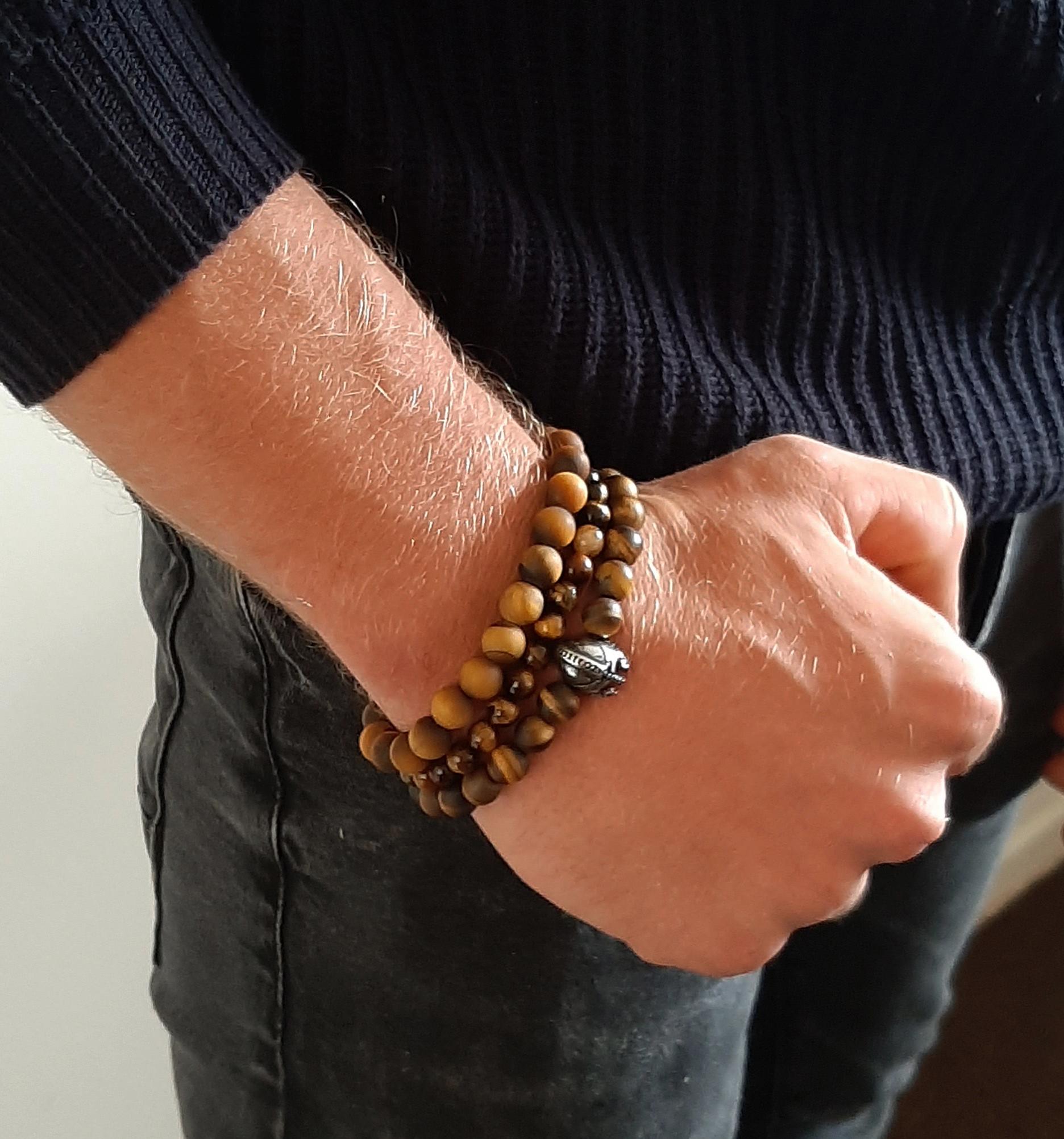 Edelsteen armband tijgeroog mat-3