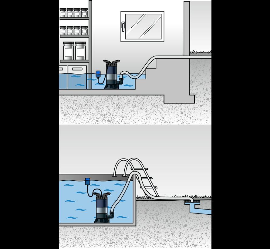 Güde GS 4002 P vuilwater dompelpompset met 20 meter tuinslang & spuit en koppelingenset