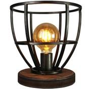 Brilliant Tafellamp Matrix landelijk gevlamd staal met hout 60W Ø 25 cm