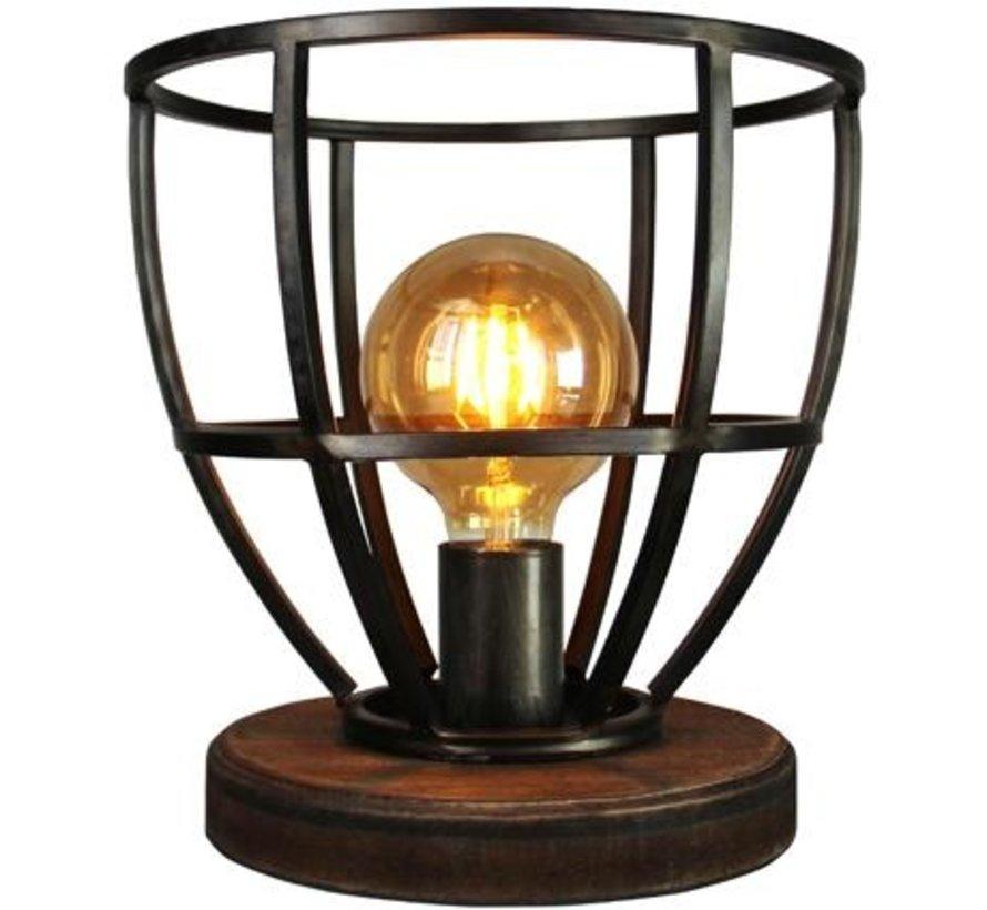 Tafellamp Matrix landelijk gevlamd staal met hout 60W Ø 25 cm