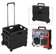 Home & Styling Boodschappentrolley BASIC met vouwkrat zwart 30L 18kg