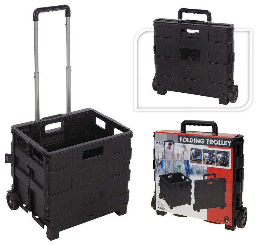 Boodschappentrolley BASIC met vouwkrat zwart 30L 18kg