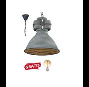 Brilliant Brilliant Hanglamp Anouk XL met rooster 93680/70 beton 48cm incl warme lamp