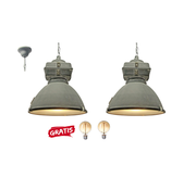 Brilliant 2x Brilliant Industriele Hanglamp Anouk 93678/70 beton 40cm incl 2x warme lampen