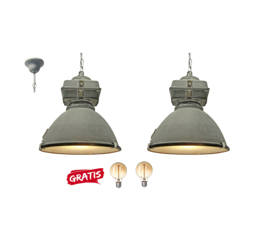 2x Brilliant Industriele Hanglamp Anouk 93678/70 beton 40cm incl 2x warme lampen