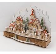 Heitronic Heitronic Houten kerstdorp muziekdoos met 15 warm witte LEDs, kerstversiering