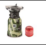 Kemper Kemper RVS camping gaspit met piëzo ontsteking - 1 pits + 1 gasbus