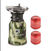 Kemper Kemper RVS camping gaspit met piëzo ontsteking - 1 pits + 2 gasbussen