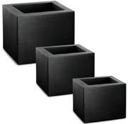 Deuba Deuba Plantenbak Set van 3 - vierkant - 50/40/30cm breedte - Bloempot