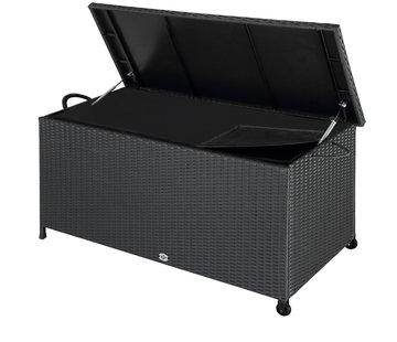 Deuba Deuba Opbergbox polyrotan op wielen zwart 122 x 56 x 61cm