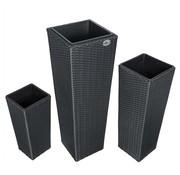 Deuba Deuba Bloempotten polyrotan set van 3 zwart